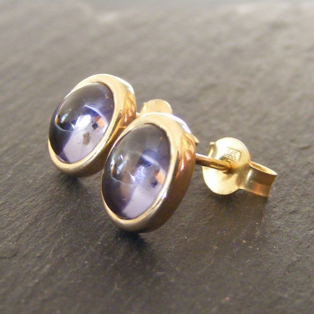 9ct Yellow Gold Iolite or Water Sapphire Oval Stud Earrings