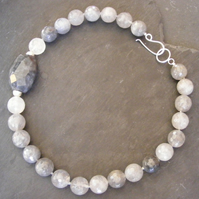Chunky Statement Necklace in Cloudy Grey Quartz and Sterling Silver Hall Marked