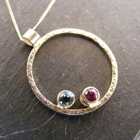 9ct Yellow Gold Ruby & Blue Topaz Contemporary Circle Pendant & Chain Hallmarked