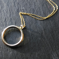 Solid 9ct Yellow Gold Halo Pendant and 18 Inch Chain - Fully HallMarked