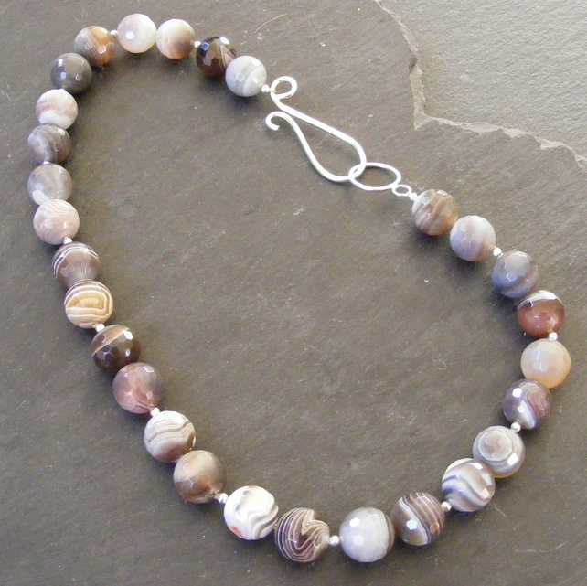 Statement Necklace in Faceted Botswana Agate & Sterling Silver - Hall Marked
