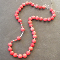 Necklace with Dyed Red Howlite, Coral and Sterling Silver