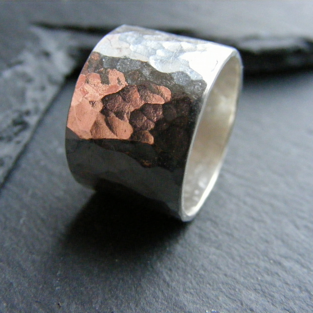 Wide Band Ring in Sterling Silver with Hammered Texture -UK Size N
