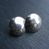 Sterling Silver Large Retro Button Stud Earrings Lightly Beaten Finish
