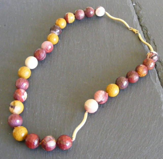 Chunky Necklace in Sterling Silver Vermeil with Faceted Mookaite Gemstones