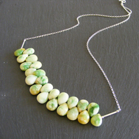 Necklace in Sterling Silver with Green Agate Drops