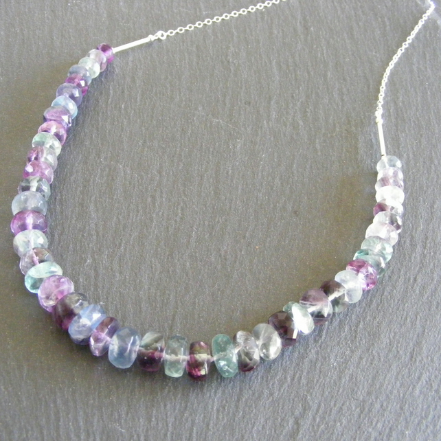 Necklace in Sterling Silver with Faceted Rainbow Fluorite Gemstones