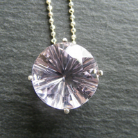 Sterling Silver Rose-de-France Amethyst Pendant and Chain - Fancy Cut Stone