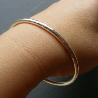 Sterling Silver Slave Bangle Hand Made 19.09g Hall Marked Hammered Finish