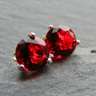 Sterling Silver Stud Earrings with Claw Set Red CZ Crystals