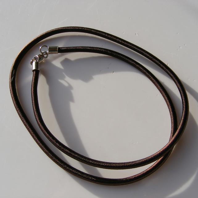 Brown Silk Covered Rubber Cord  with a Sterling Silver Lobster Clasp 18 Inches