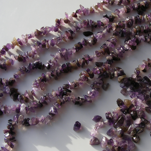Strand of Large Amethyst Tumbled Chip Gemstone Beads 16 Inches