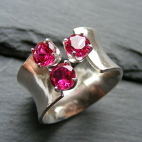 Sterling Silver Adjustable Ring with Synthetic Rubies - UK Size O - Hall Marked