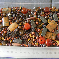 Mixed Bag of Gemstones - Brown Mix - Agate Jasper jade Goldstone Tiger's Eye