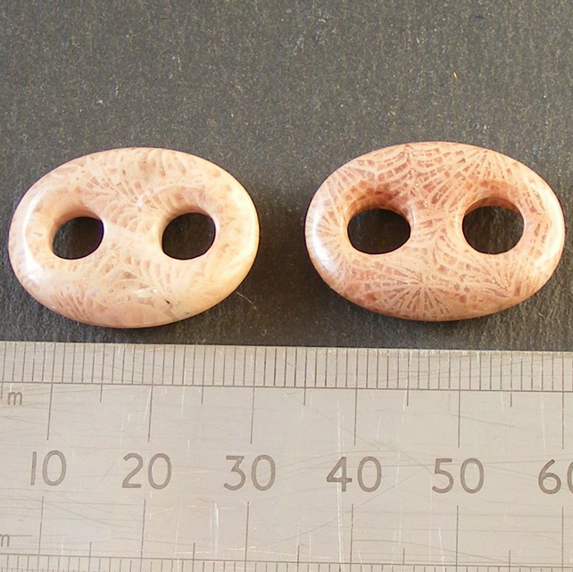 2 x Fossil Coral Jasper Anchor Link Gemstone Focal Beads - Jewellery Making