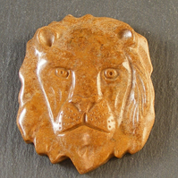 Carved Lions Head Jasper Focal Bead For Jewellery Making