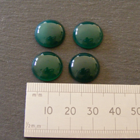 2 x Green Agate Round Cabochon Gemstones - 15 mm for Jewellery Making