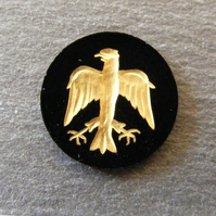 1 x Black Onyx & Gold Intaglio Carved Eagle Cabochon For Jewellery Making