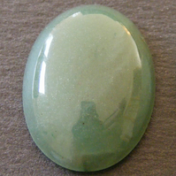 1 x Large Oval Green Aventurine Cabochon 25 x 18 mm for Jewellery Making