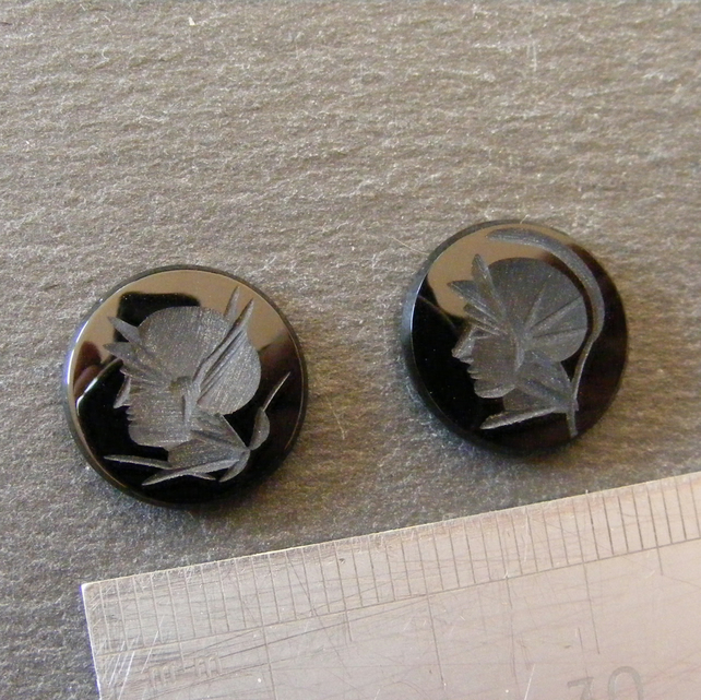 2 x Intaglio Black Onyx Gemstone Cabochons for Jewellery Making
