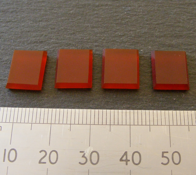 1 x Pair Rectagular Flat Top Carnelian Cabochons For Jewellery Making