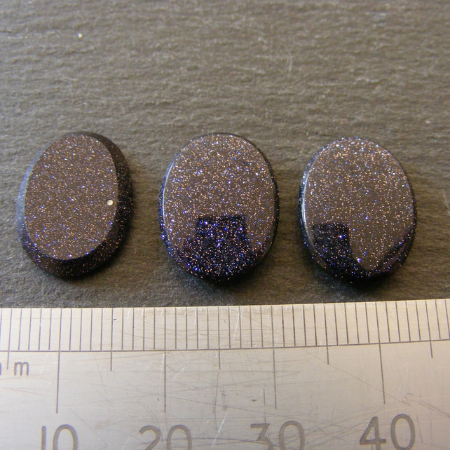 1 x Blue Gold Stone Cabochon for Jewellery Making 16 x 12 mm