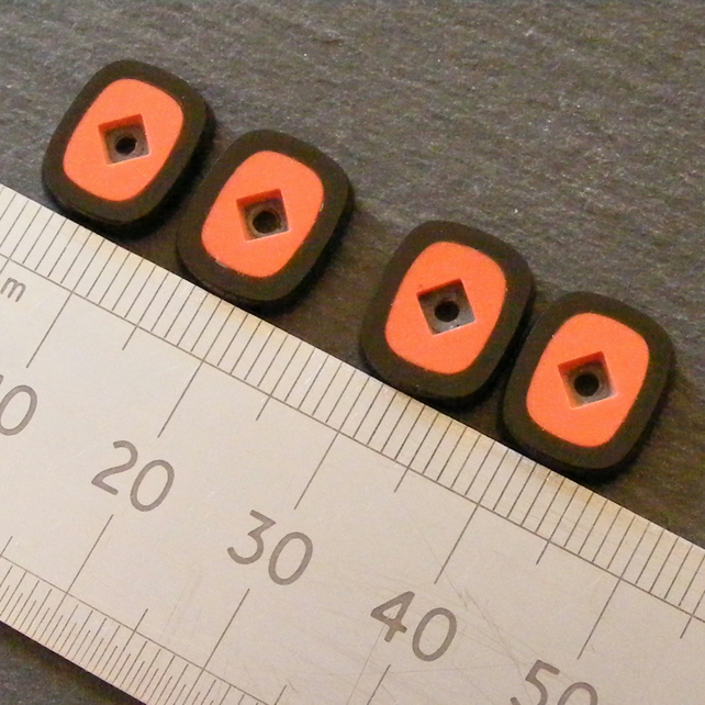 1 Pair Black Onyx & Coral Cabochons with Gemstone Recess - Jewellery Making