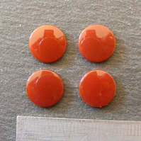 Four x Carnelian Round Cabochons - Slightly Domed - for Jewellery Making