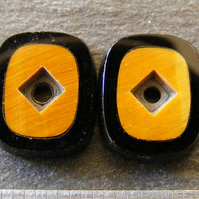 1 x Pair Black Onyx and Tigers Eye Inlay Cabochons for Jewellery Making
