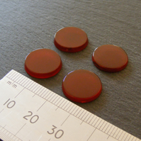 1 x Pair Flat Carnelian Hard Stone Round Cabochons 15 mm For Jewellery Making