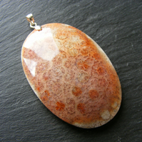 Large Fossil Coral Pendant in Sterling Silver
