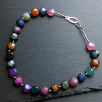 Necklace in Sterling Silver with Shades of Agate Gemstones