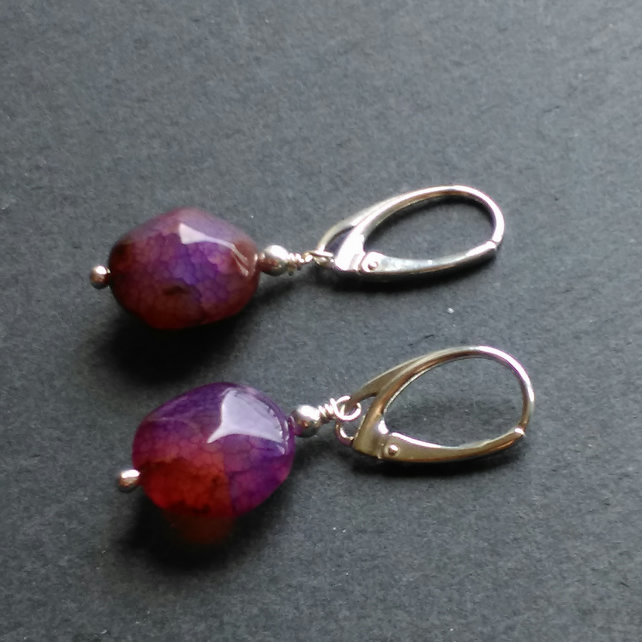 Earrings in Sterling Silver with Dyed Purple Agate Gemstones
