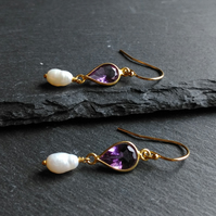 Sterling Silver Vermeil Amethyst & FW Pearl Long Drop Earrings