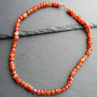 Necklace in Faceted Fire Agate Gemstones and Sterling Silver Vermeil