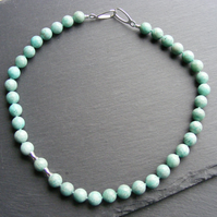 Amazonite Gemstone Necklace in Sterling Silver - Asymmetric Design