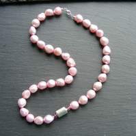 Pink Fresh Water Pearl, Pink Tourmaline and Sterling Silver Asymmetric Necklace