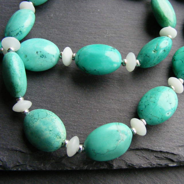 Turquoise and Amazonite Necklace in Sterling Silver - Hall Marked