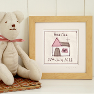Personalised Christening Gift For Girls, Embroidered Framed Art