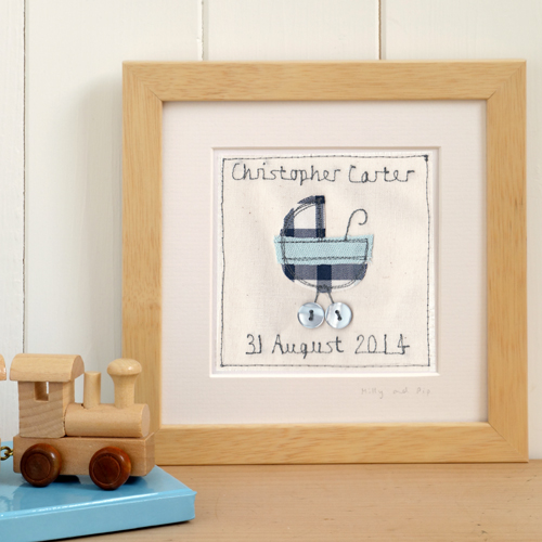 Personalised New Baby Boy Gift, Framed Embroidered Picture