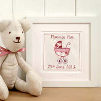 Personalised New Baby Girl Gift, Framed Embroidered Picture