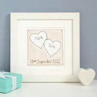 Personalised Wedding Or Anniversary Gift, Embroidered Framed Picture