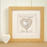 Personalised Heart Wedding or Anniversary Picture, Framed Textile Art