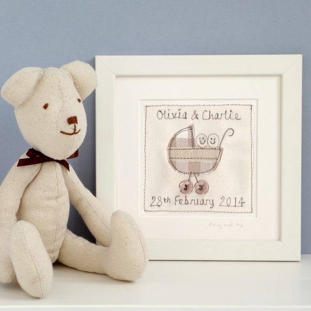 Personalised Gift For Twins, Embroidered Framed Picture