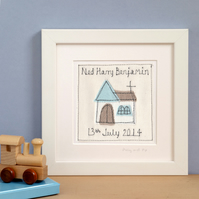 Personalised Christening Gift For Boys, Embroidered Framed Picture
