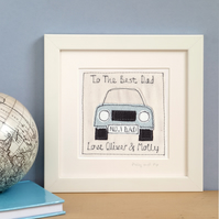 Personalised Embroidered Car Picture Gift For Boys, Framed Artwork
