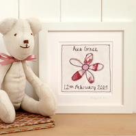 Personalised Embroiderd Flower Artwork for Girls, Framed Picture