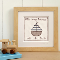Personalised Embroidered Sailing Boat Picture Gift For Boys, Framed Art