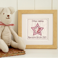 Personalised Embroidered Star Picture Gift For Girls, Framed Artwork