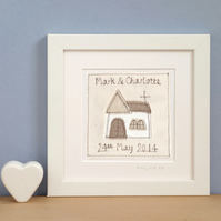 Personalised Church Wedding or Anniversary Picture, Framed Textile Art